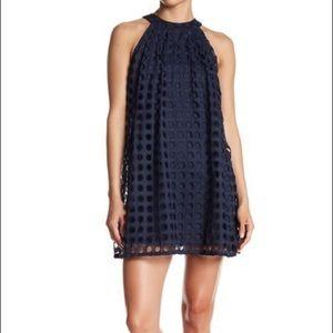Eyelet shift dress with halter neckline